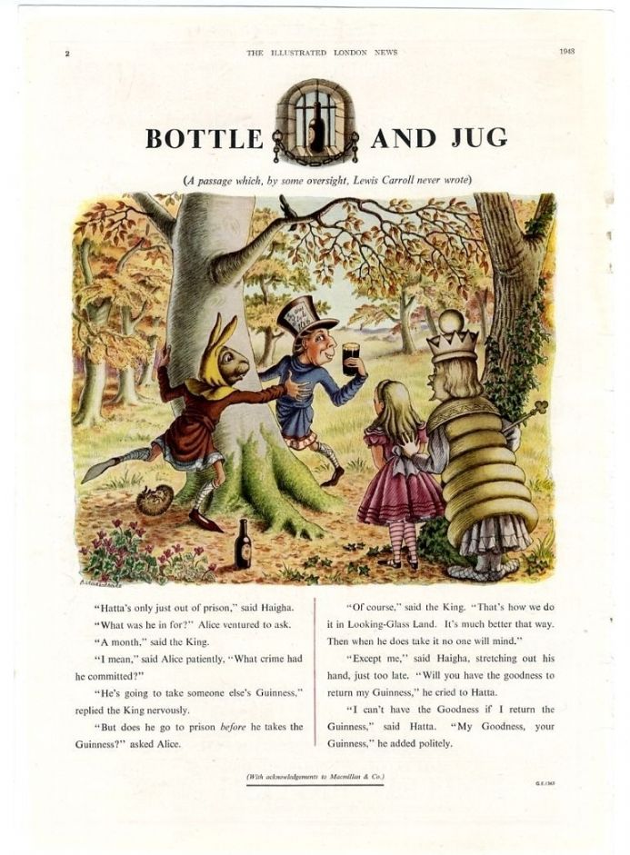 1948 GUINNESS  Vintage Advert ALICE  THROUGH THE LOOKING GLASS Hatta Haigha  GROVES RAINES Print GE1363